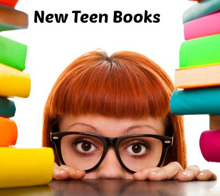 Red-haired girl with glasses amongst a stack of books with the words above her head New Teen Books